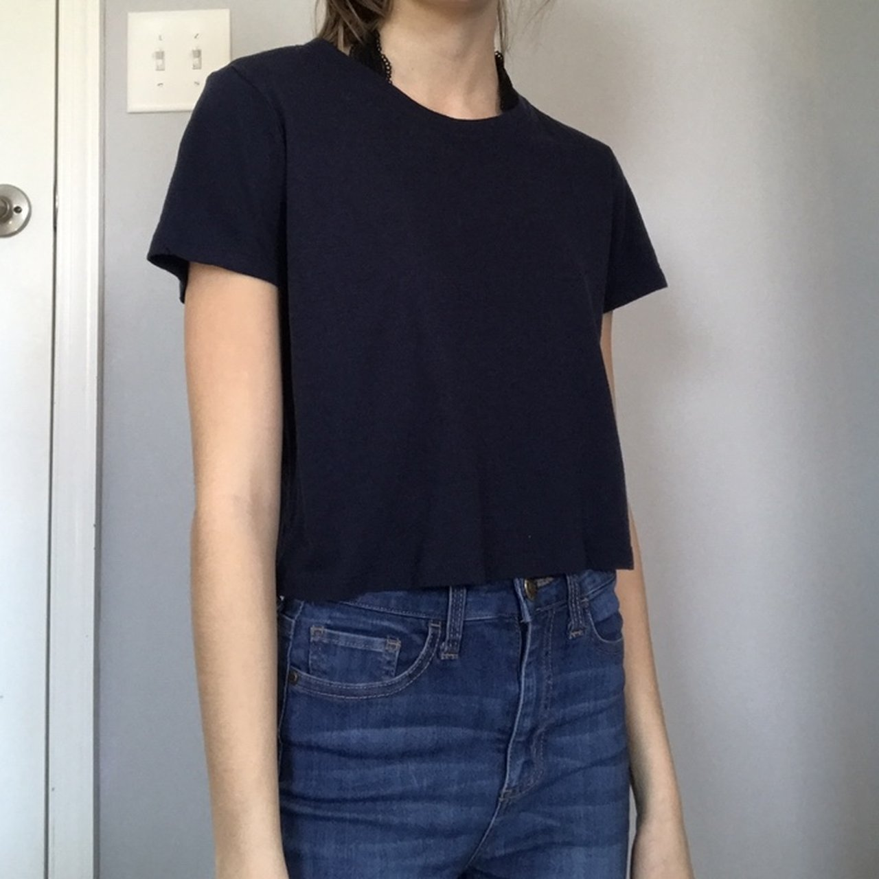 7d2e666a52590 Forever 21 thin navy crop top. Super soft. Is tagged as size - Depop