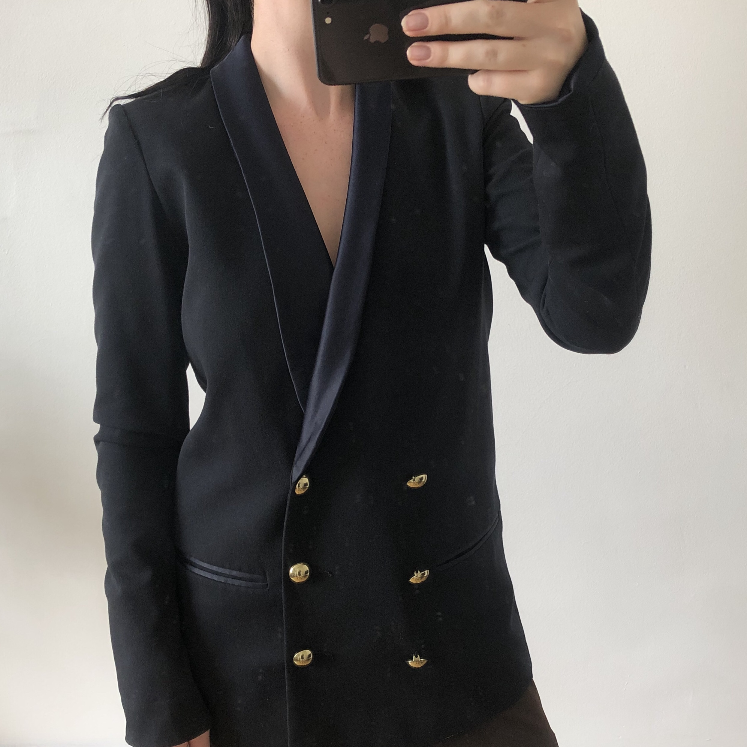 Navy blazer with gold buttons - Depop