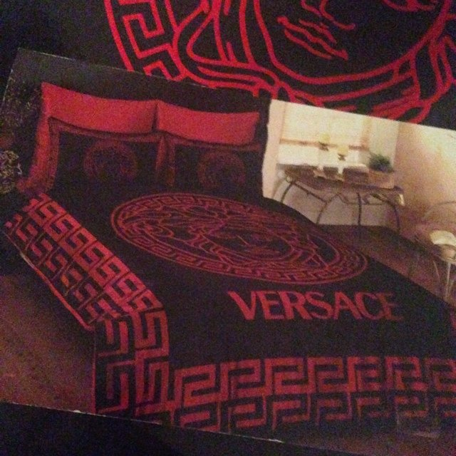 Versace Replica Silk Black And Red Bed Sheets   Double Bed     Depop