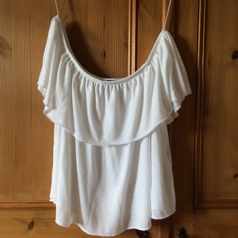 908ab200e563c3 Topshop White Bardot off the shoulder top in size 8 petite. - Depop