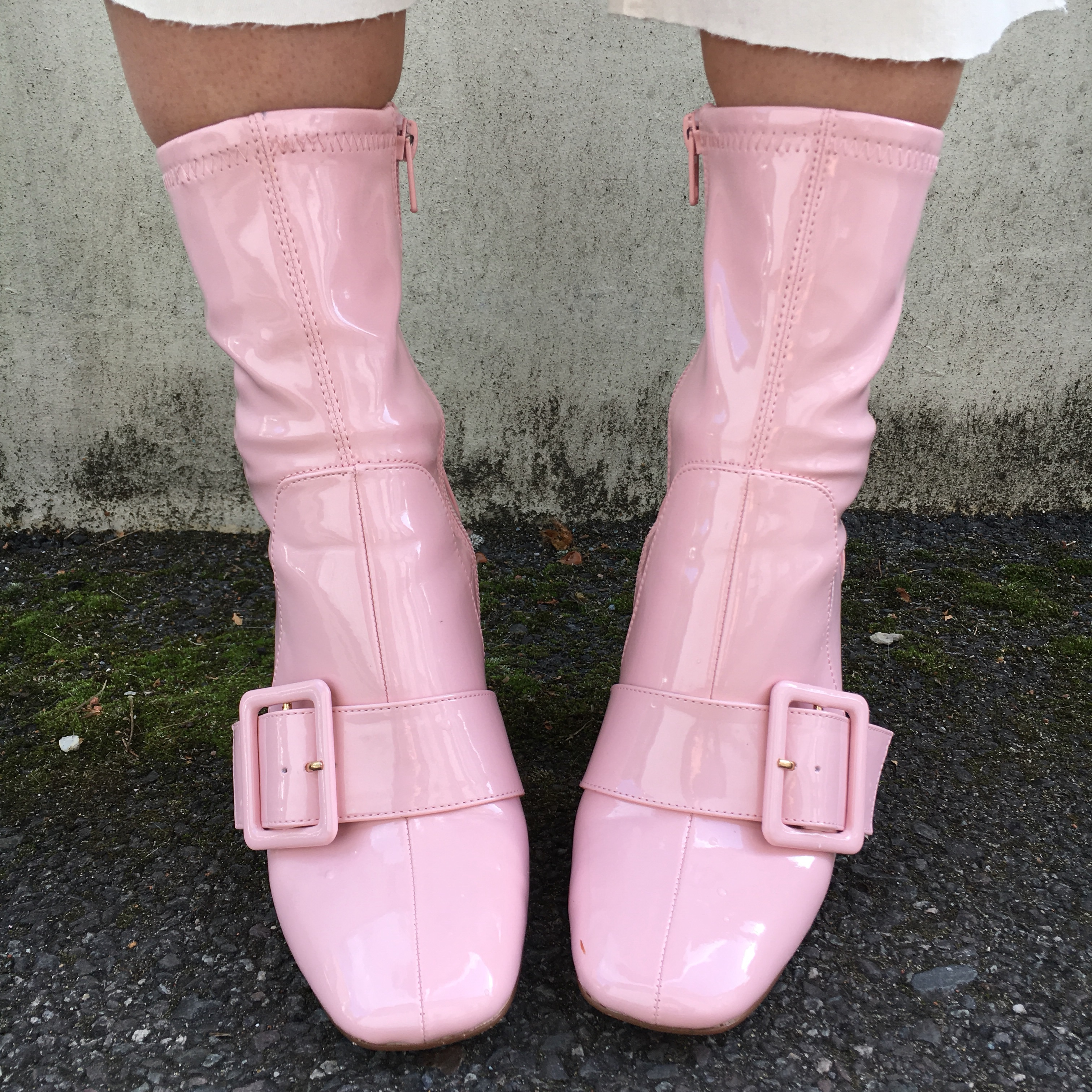 River Island pink patent heeled ankle