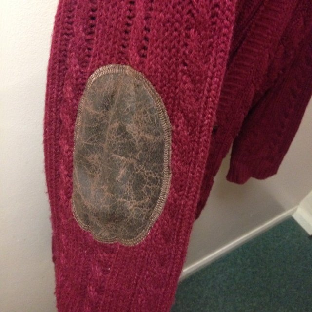 4361f9b131 Primark burgundy chunky knit cardigan with distressed elbow - Depop