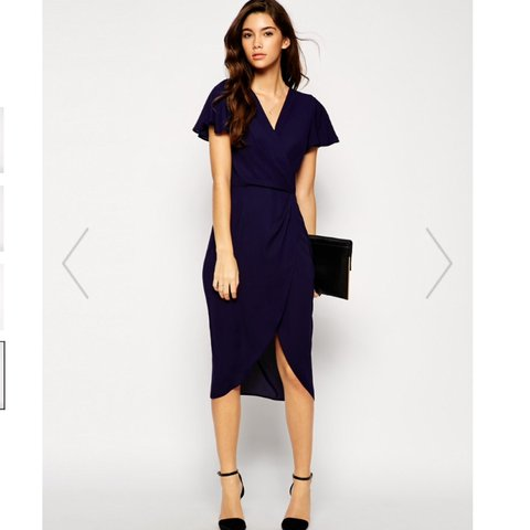 9774710698 Asos navy blue wrap dress size SMALL which I would say is a - Depop
