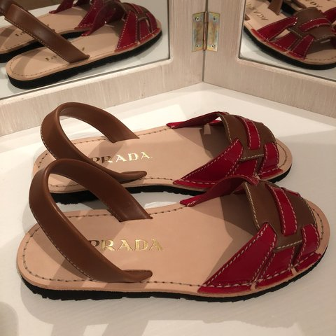 7507c7f1d7 @saratrpn. 10 months ago. Milano, Italia. Prada Sandal 37 ,red and brown  leather and patent ...