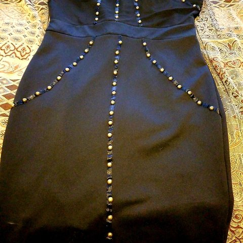 d1334695ce75 @ashleytrejo. 5 months ago. California, US. Black with gold stud dress. Top  part ...