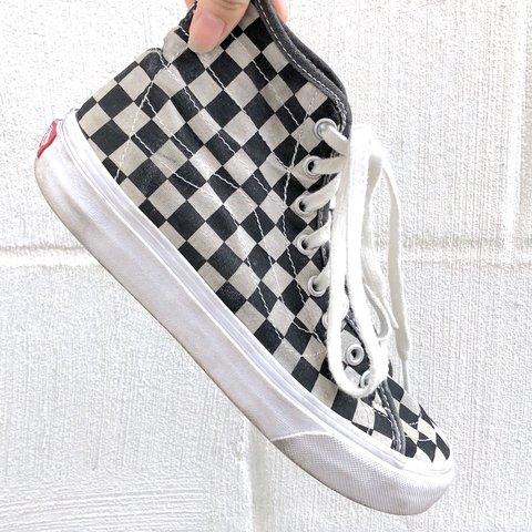 08952a6487 Vans Sk8-Hi Black and White Checkered High Top Sneakers A to - Depop