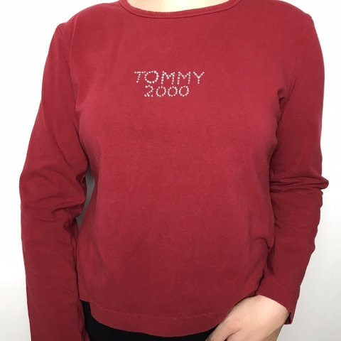 6e1660a3959bd Tommy Hilfiger long sleeve Features a red color top with in - Depop