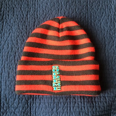 8073ec7d8d5cf Red and Black Supreme beanie 9 10 condition  STEAL  - Depop