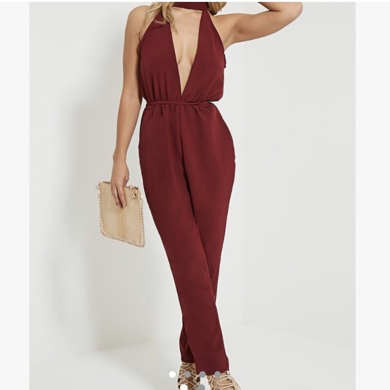 1434cafb16f4 Burgundy pretty little thing jumpsuit