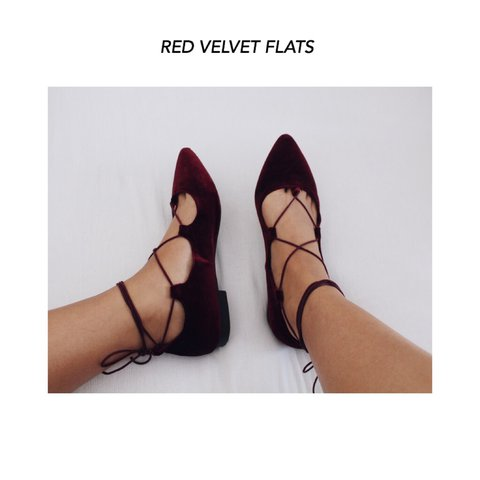 61f5548cfb5 RED VELVET FLATS! Beautiful shoes. Target Brand Mossimo Co. - Depop
