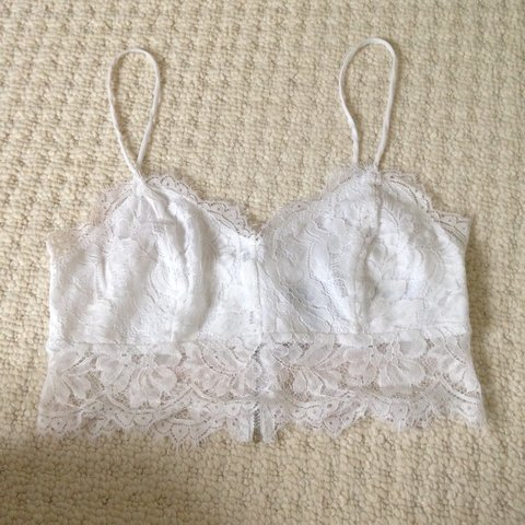 110a39938bf17 topshop UK 8 white lace bralette crop top. Good condition - Depop