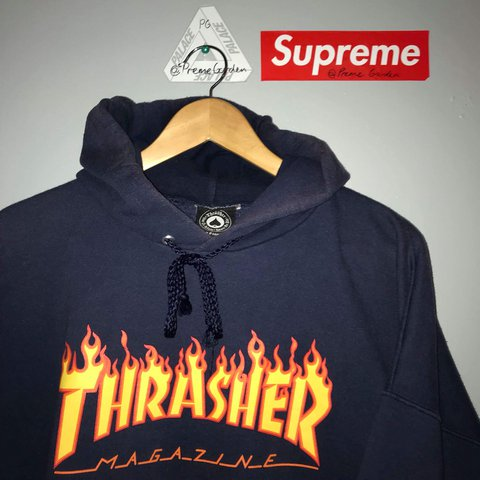 f9f255dc368b Thrasher flame logo hoodie. Navy flames. Size XL. Good a but - Depop