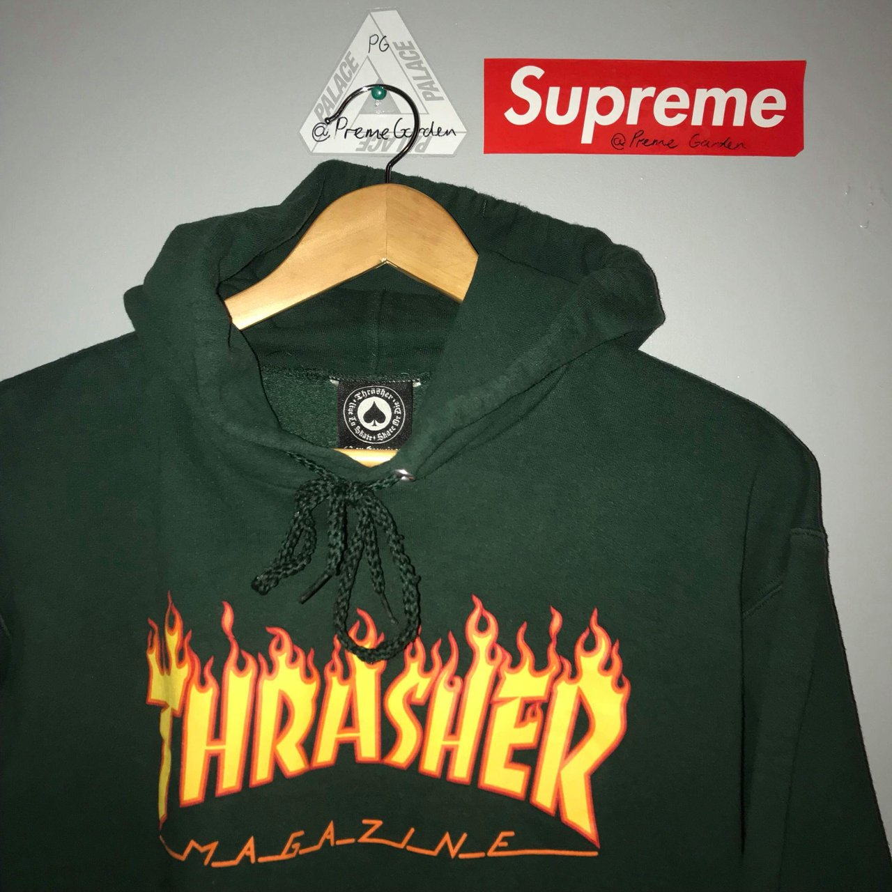 008b4d3c @cracked. 2 years ago. Glasgow, UK. Thrasher flames logo hoodie. Forest  green.