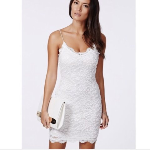 619789703a1a @hollyclements91. 9 months ago. Bedford, United Kingdom. Brand New with Tags  Missguided White Lace 'Ciara' Strappy bodycon dress ...