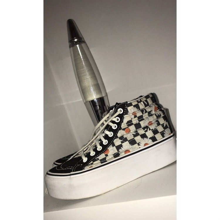 free delivery durable in use hot-selling Daisy checkered platform vans. UK size 3 - worn but... - Depop