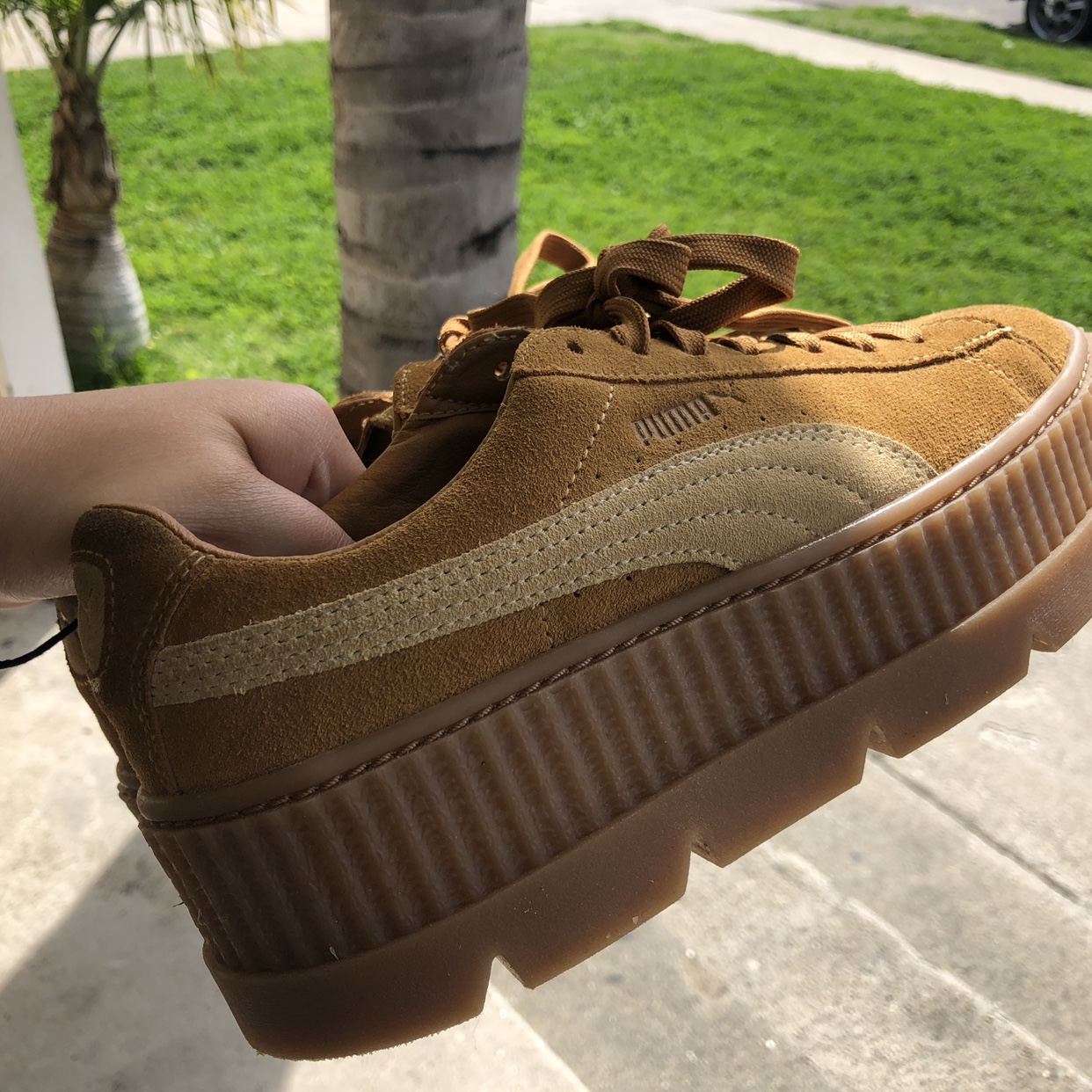 buy popular 25a1d 39788 FENTY PUMA by Rihanna Cleated Suede Creepers Caramel ...