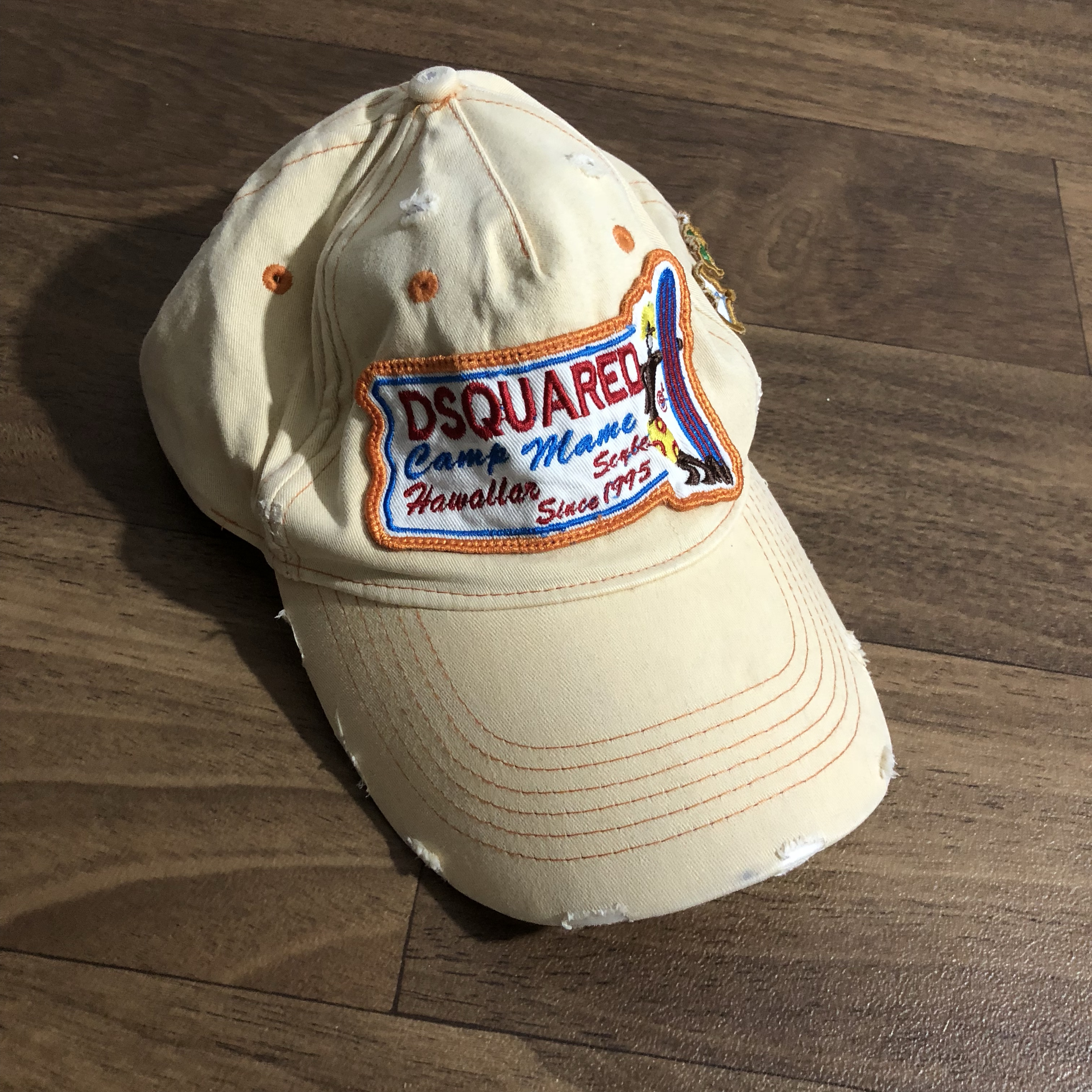 Distressed trucker hat with embroidered patches and    - Depop