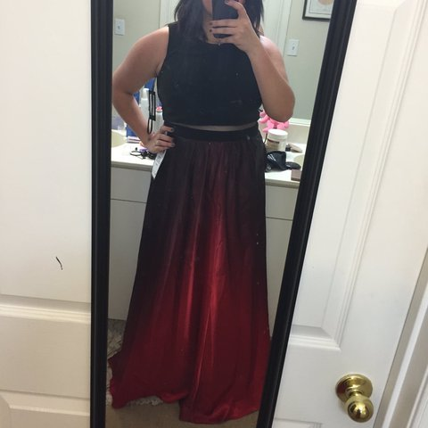 Betsy And Adam Black And Red Ombré Prom Dress Worn Once To Depop