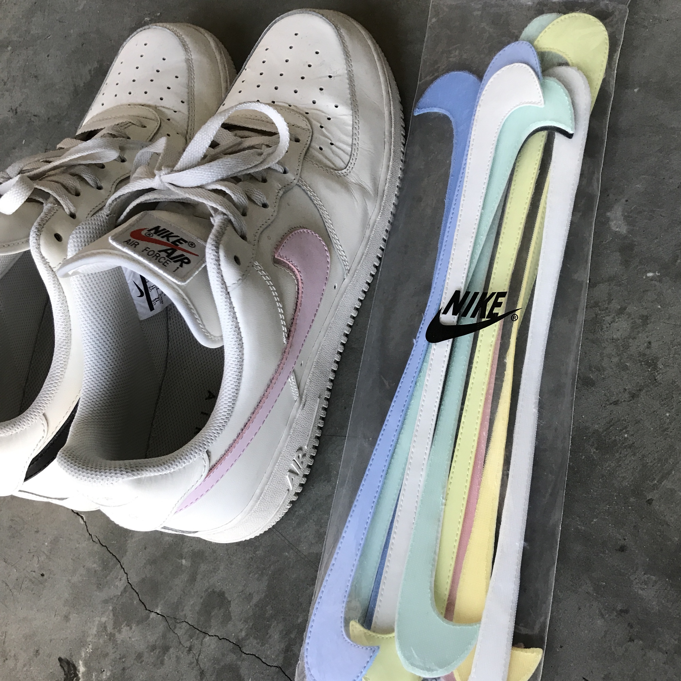 Nike Air Force one removable swoosh pack. Size 12. Depop
