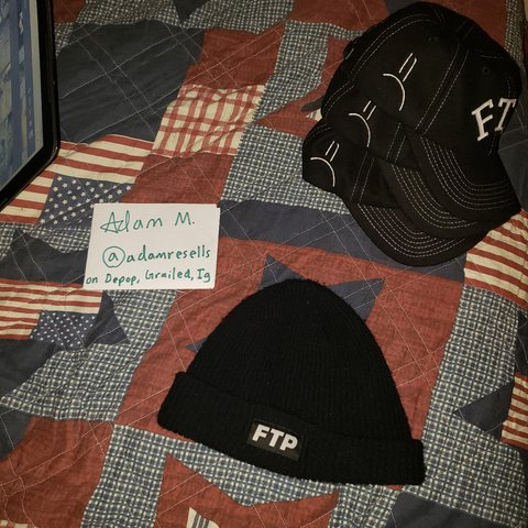 412715d8 Black FTP logo beanie for sale. Got it in a trade but dont - Depop