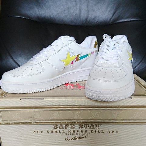A Bathing Ape White Multi Camo Bapesta 100% 9.5 Color  now - Depop cadf6d7f2