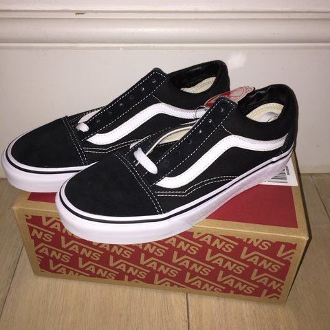 88ce6fb78ef0 Vans old skool black white womens size uk 4. Never worn new - Depop