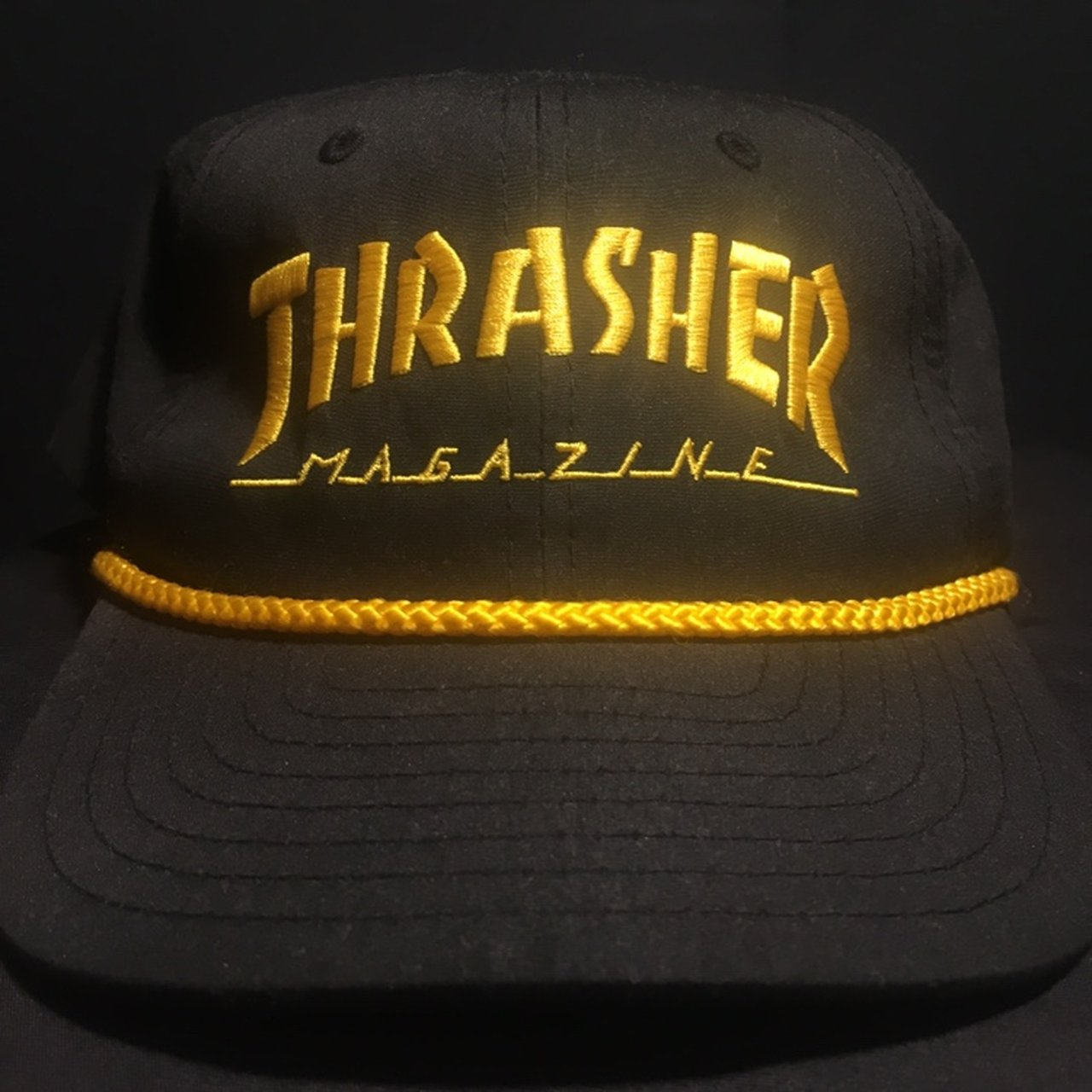 Thrasher Rope Snapback Hat Black   Yellow Polyester No     - Depop a9710e49e3d4