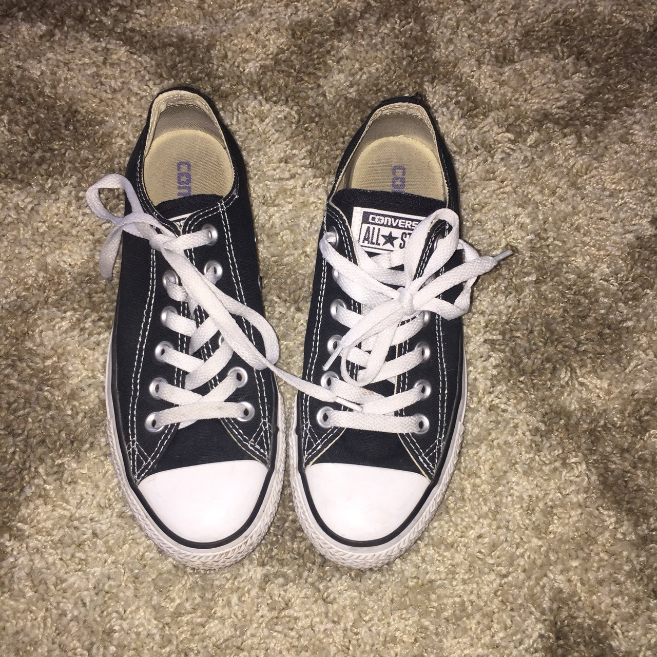 d882e2deaf38b8 All Star Converse low top black. Used a few times. Good Can - Depop