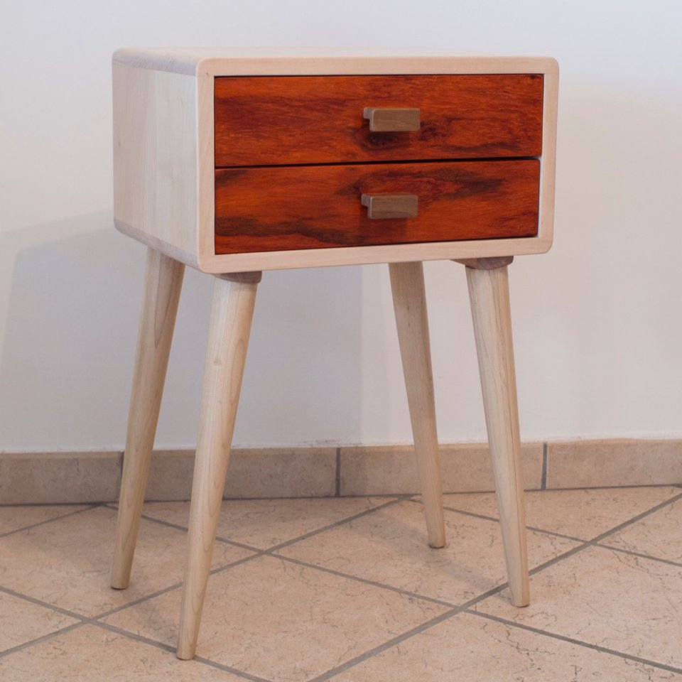 Design Scandinavo Anni 50 mid century modern bedside table with two drawers, - depop