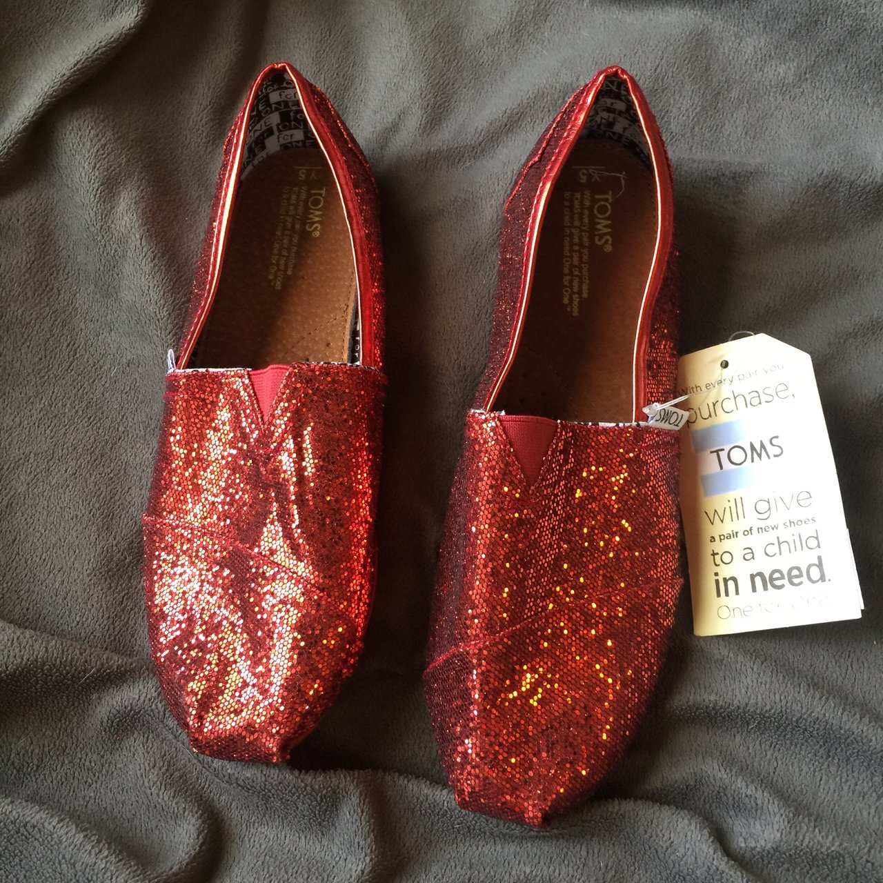 f7375ab87ac wizard of oz dorothy red glitter toms. never worn tags still - Depop