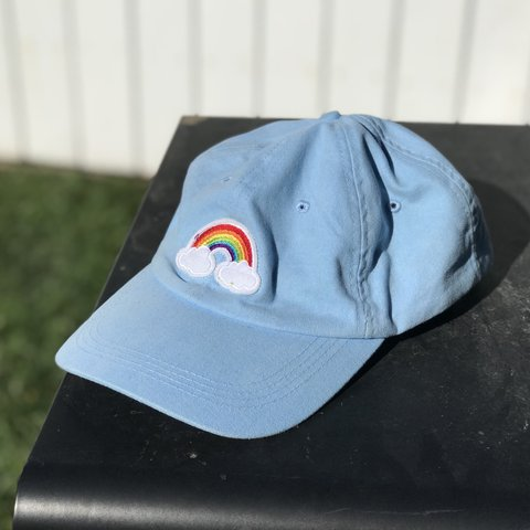 05f1d22125e3d Light blue dad hat with embroidered rainbow patch on it. for - Depop