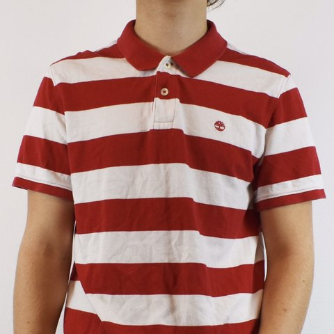 5f682b30 @oldfinds. 4 months ago. United Kingdom. Vintage Timberland polo shirt tee  top blouse striped in red and white.