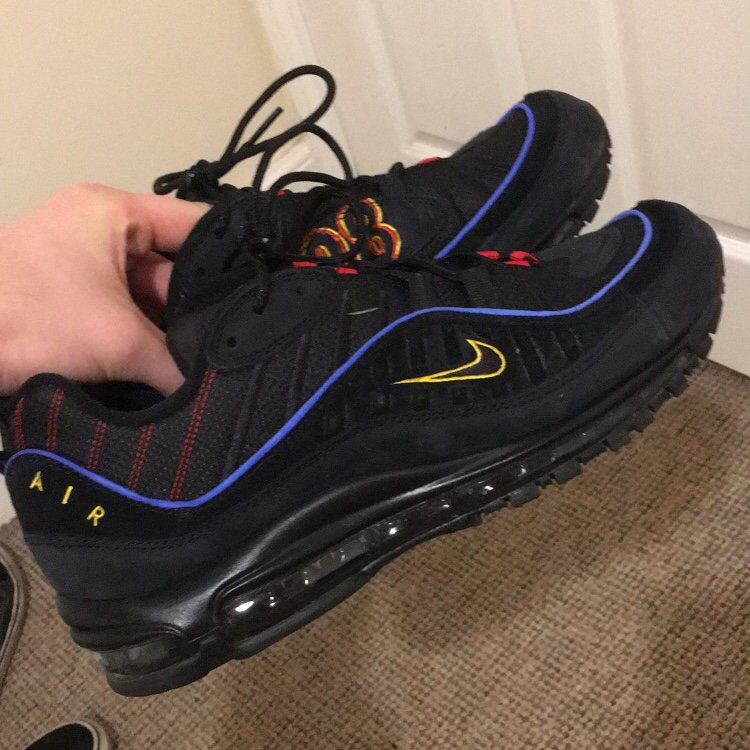 outlet store ad0f1 cb3dd 2019 Air max 98 Present (Black, yellow, red, blue)... - Depop