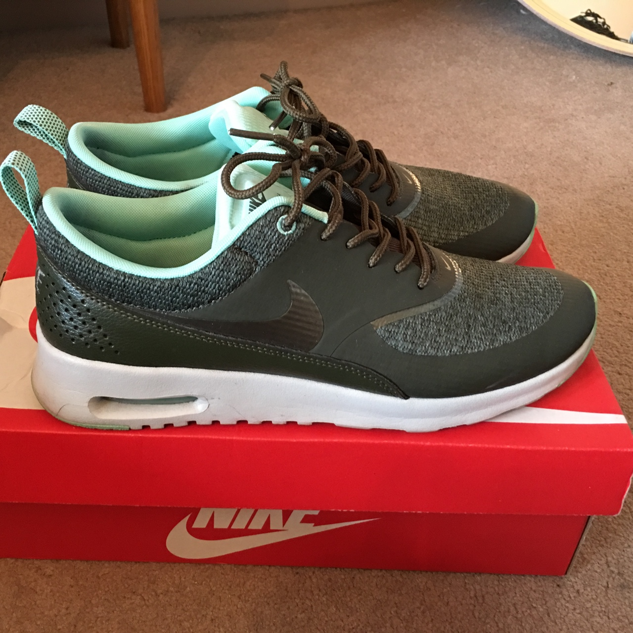 Nike Air Max Thea in olive green. Worn a couple of Depop
