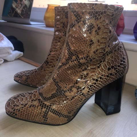 085a0afe0 🐍🐍🐍INCREDIBLE asos snakeskin effect sock boots with see 7 - Depop