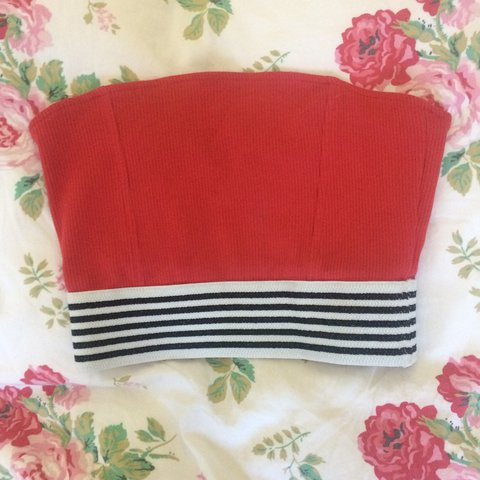 e633c517dd Topshop red striped bandeau crop top - size 6 - the striped - Depop