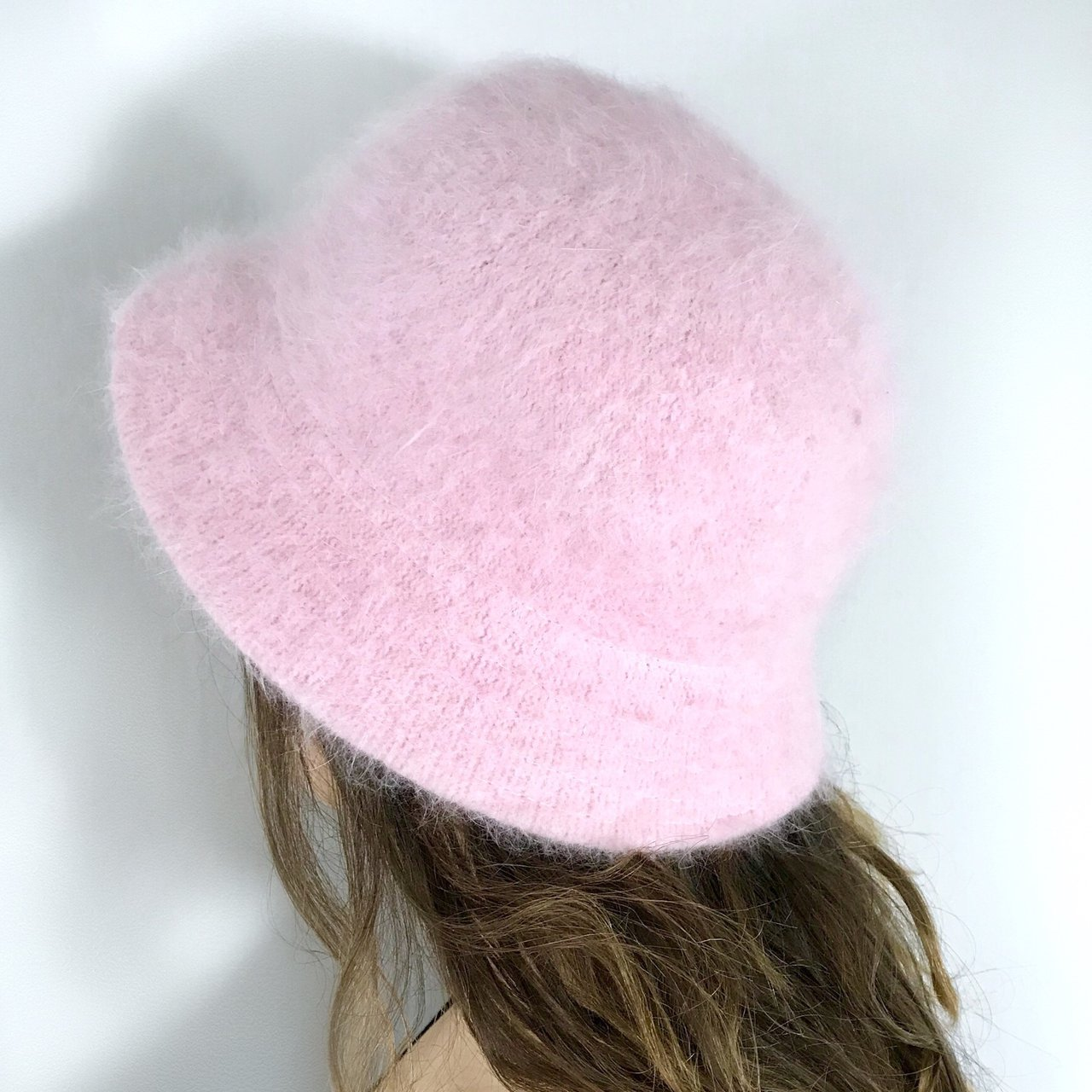 90s baby pink fuzzy bucket hat in perfect condition 💕 soft - Depop f6299a819c4