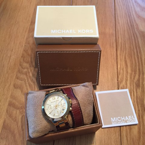 fcc72ba08 @cassiebenson. last year. United Kingdom. Michael Kors brown and gold  double leather strap watch. Original ...