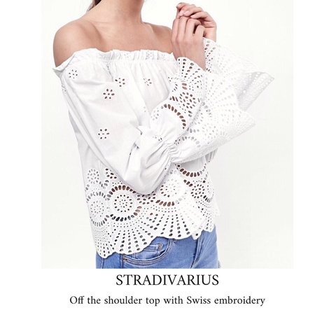 897d9a44508 @tandcsnaps. 9 days ago. Woodbridge, United Kingdom. Stradivarius off the shoulder  top with Swiss embroidery