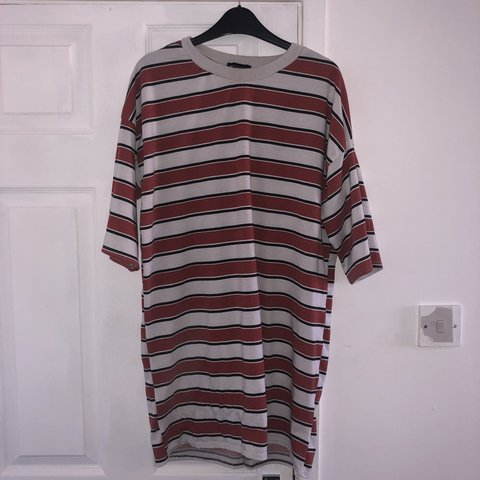 f58ffc2af2 Red black and white stripy oversized t shirt dress from size - Depop