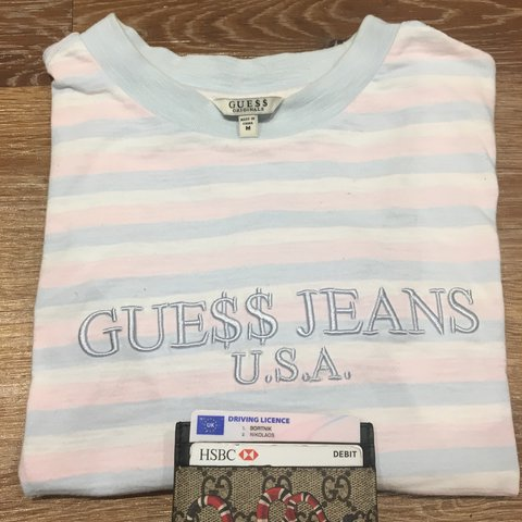 641f4ad866 Guess Asap pink blue striped top. Flex like A ap with tags - Depop