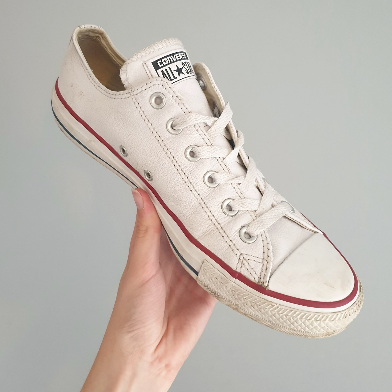 Converse White Leather Shoes Not worn very much, in Depop