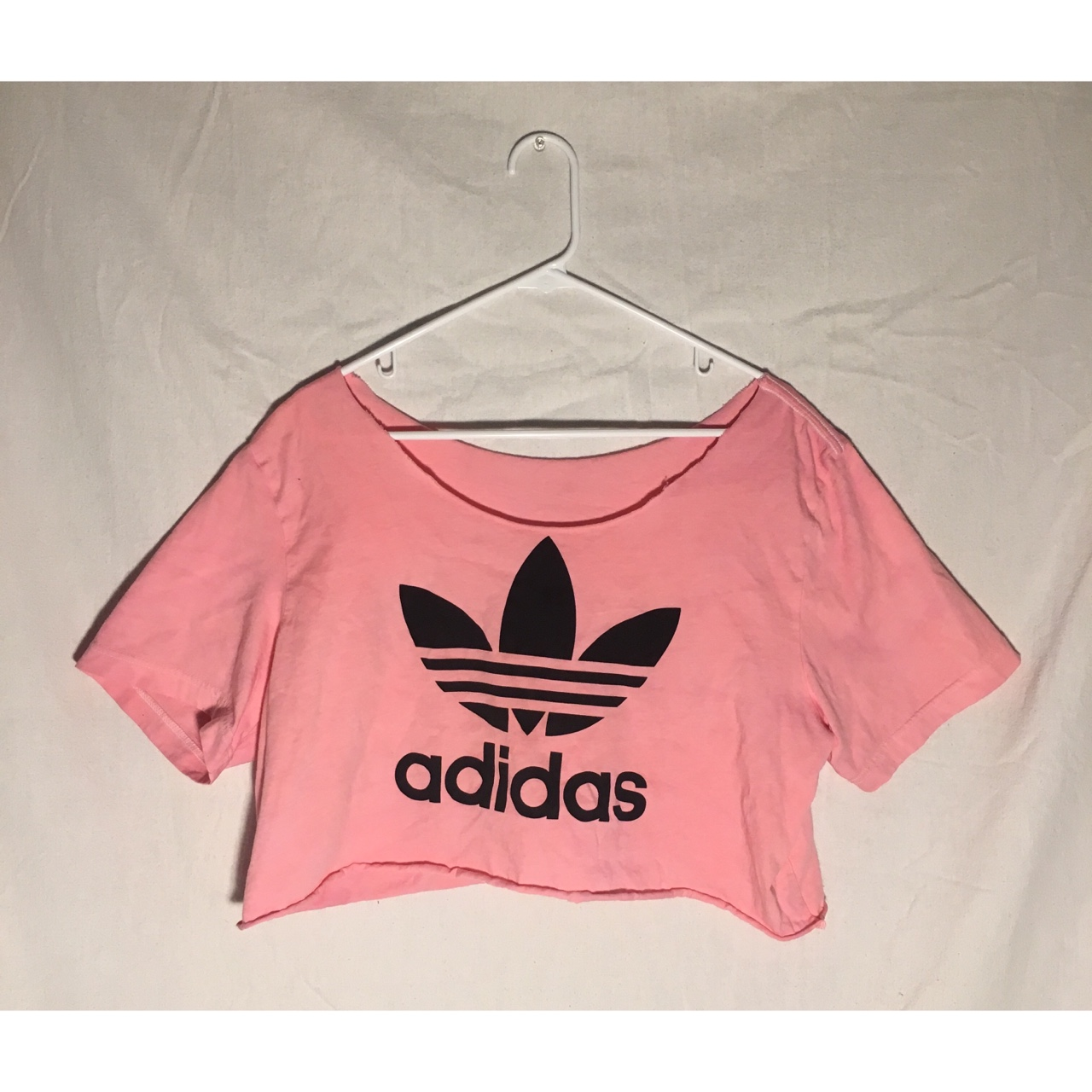 One of a kind, hand dyed and cut ADIDAS pink crop Depop