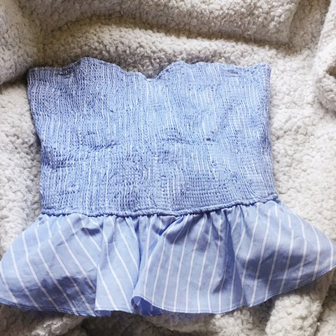 11d187e2b05 Light blue tube top with white stripes Size M Can fit small - Depop