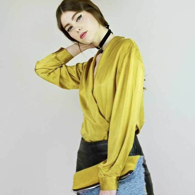 8c362151448fc8 @birdonawire. 4 years ago. London, UK. We are obsessed with this low cut  chartreuse satin blouse!