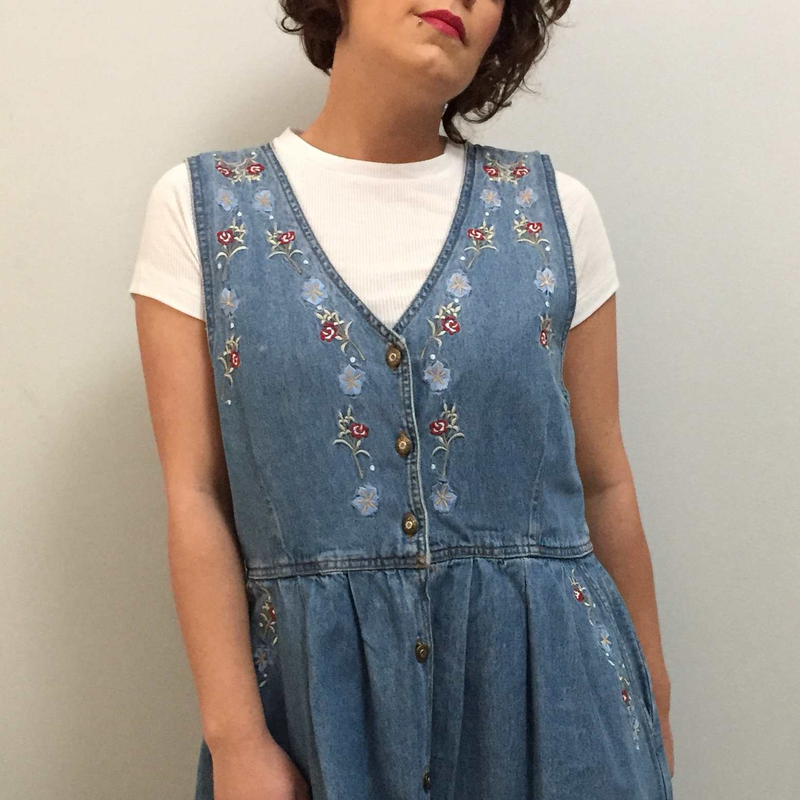 bab86fa0a18 The most amazing vintage  retro embroidered button up denim - Depop
