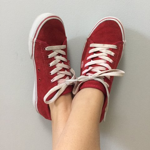 320b75ca21 Vintage 90s 00s red suede VANS trainers. 👟 Fab strong red a - Depop