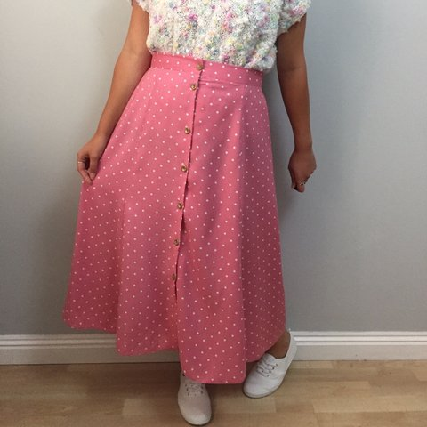 1e81b6696bb Fab vintage 80s 90s does 50s pink and white Polka dot midi x - Depop