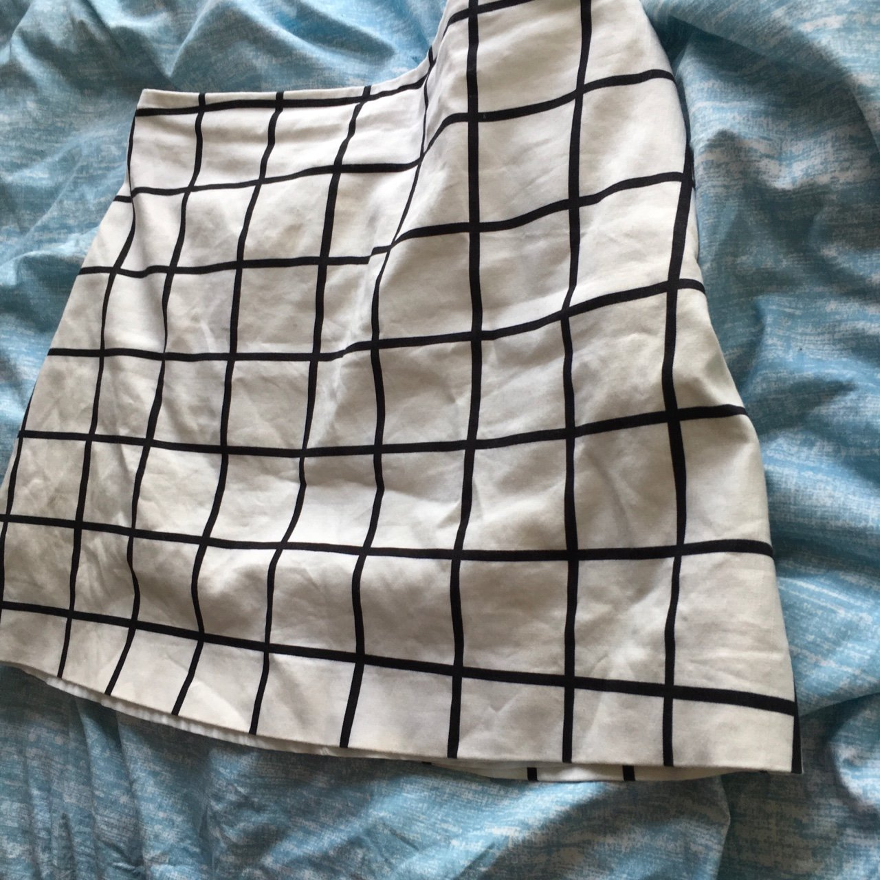 8cf58af2ea @bbybel. 3 years ago. London, UK. Mango white and black grid print skirt,  tiny mark on the back otherwise in good condition size ...