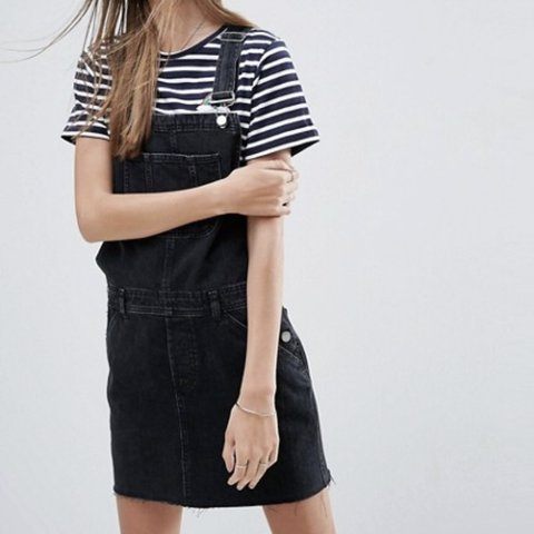 a16cd623da0 ASOS Design black denim overall dress. Looks so cute with a - Depop